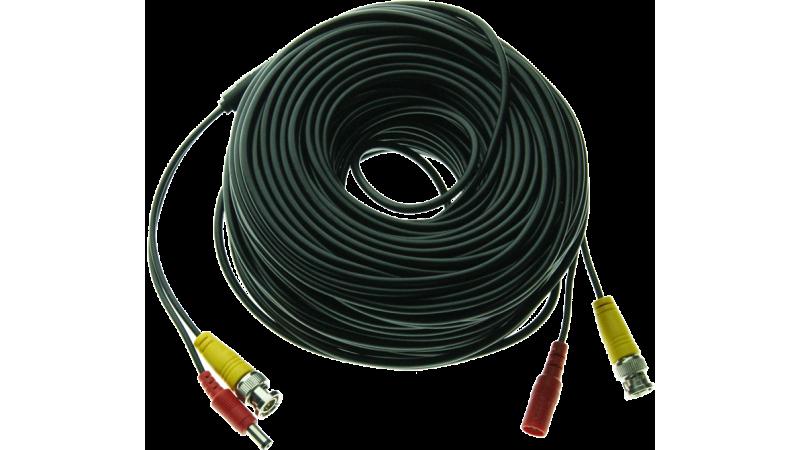 Cablu supraveghere sertizat 50m, semnal video (BNC M-M) si alimentare (DC M-T)