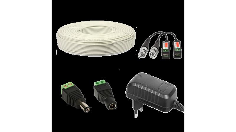 Kit conectori pt 1 camera alimentator 1A 15m cablu UTP