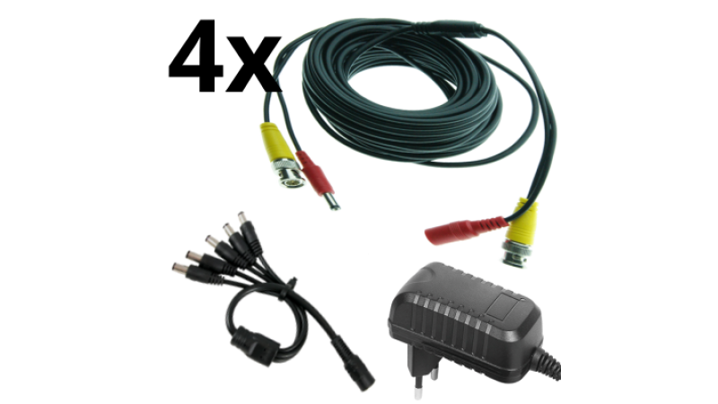 Kit alimentare si semnal pentru 2 camere - cablu 10m si alimentator 2A