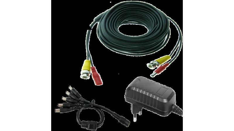 Kit alimentare si semnal pentru 2 camere - cablu 20m si alimentator 3A