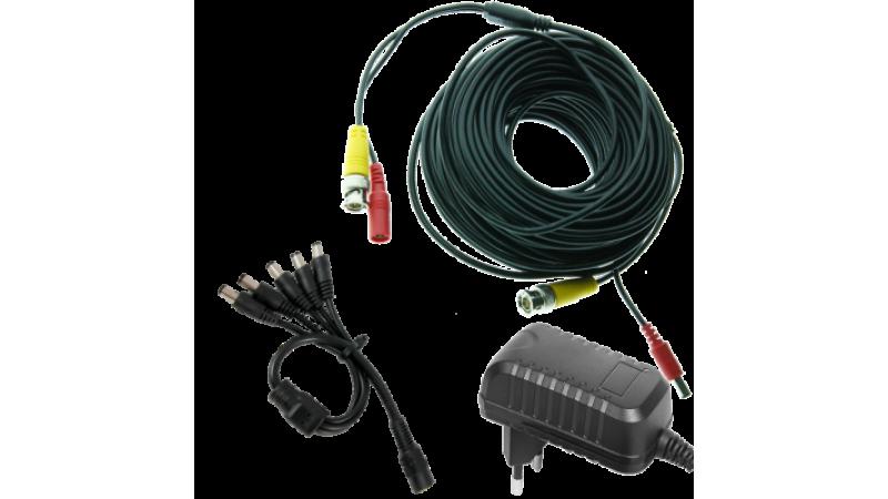 Kit alimentare si semnal pentru 2 camere - cablu 25m si alimentator 4A
