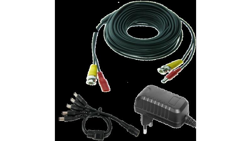 Kit alimentare si semnal pentru 4 camere - cablu 20m si alimentator 3A
