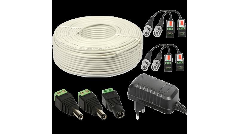 Kit conectori pt 2 camere alimentator 2A 50m cablu UTP
