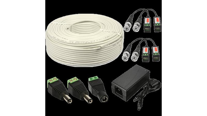 Kit conectori pt 2 camere alimentator 4A 50m cablu UTP