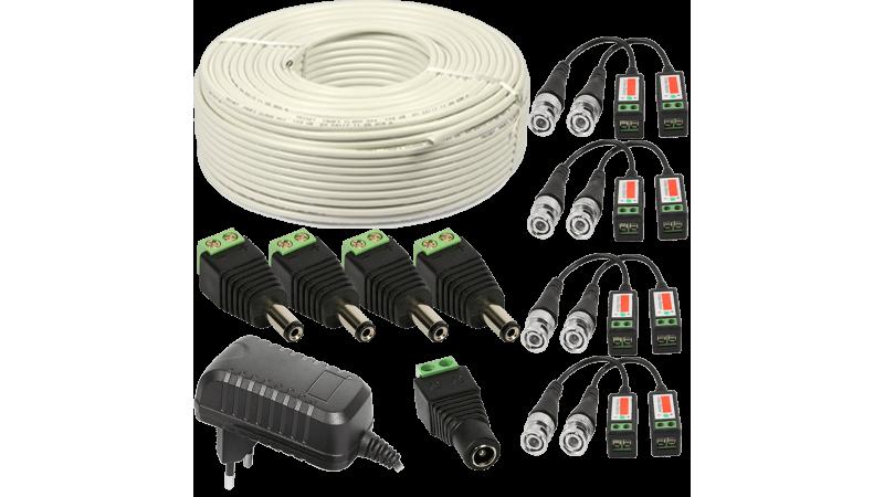Kit conectori pt 4 camere alimentator 2A  60m cablu UTP