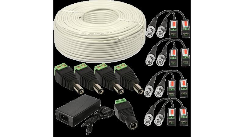 Kit conectori pt 4 camere alimentator 4A 75m cablu UTP