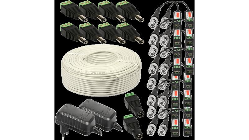 Kit conectori pt 8 camere 2x alimentator 2A 120m cablu UTP