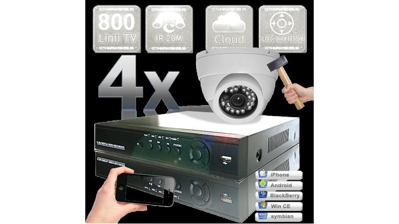 Sistem supraveghere video - 4 camere infrarosu interior senzor 800 TVL UTC