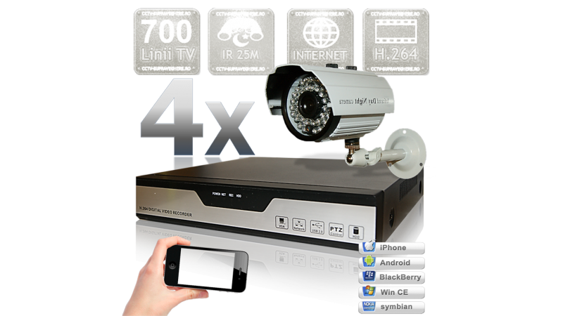 Sistem supraveghere video cu 4 camere cu infrarosu exterior