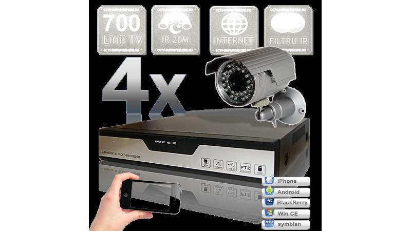 Sistem supraveghere video cu 4 camere cu infrarosu exterior IRCUT