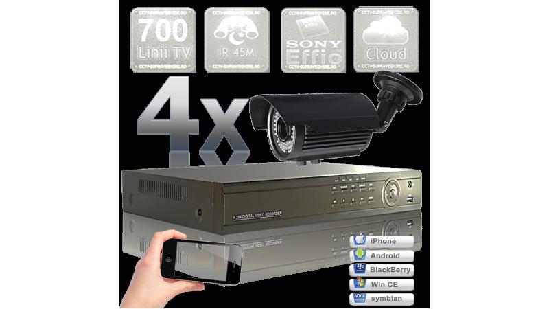 Sistem supraveghere video - 4 camere infrarosu exterior senzor SONY