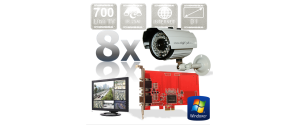 Kit PC supraveghere video 8 camere infrarosu exterior Full D1 700TVL