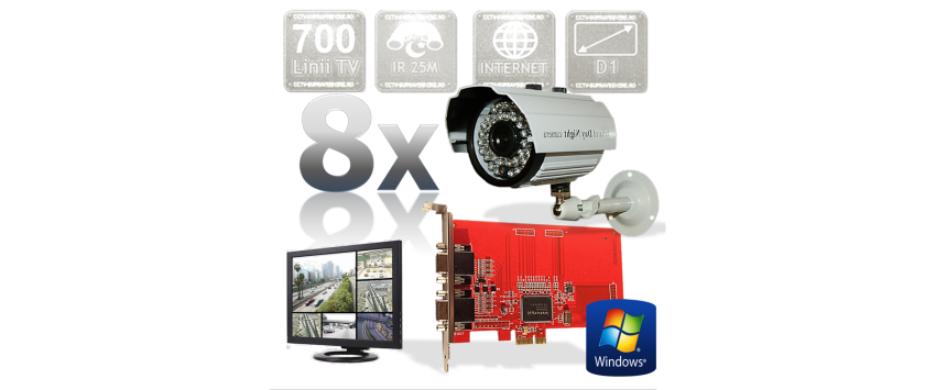 Kit PC supraveghere video 8 camere infrarosu exterior Full D1 700TVL