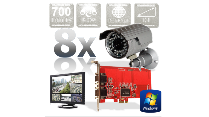 Kit supraveghere video cu 8 camere cu infrarosu exterior FULL D1 700TVL