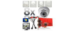 Kit PC supraveghere video 8 camere infrarosu interior Full D1 700TVL