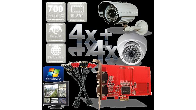 Kit PC supraveghere video 8 camere infrarosu interior si exterior Full D1 700TVL