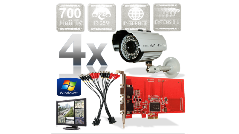 Kit PC supraveghere video 4 camere infrarosu exterior Full D1 700TVL Upgrade 8