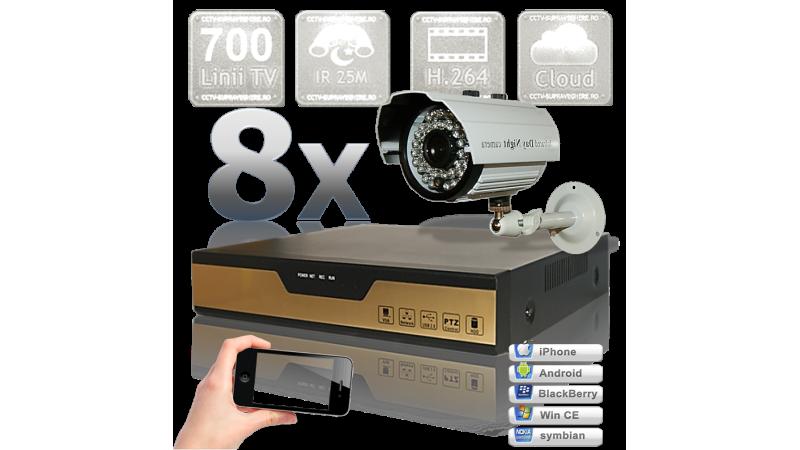 Sistem supraveghere video - 8 camere cu infrarosu exterior
