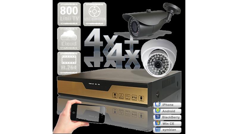 Sistem supraveghere video cu 8 camere infrarosu pentru interior si exterior UTC