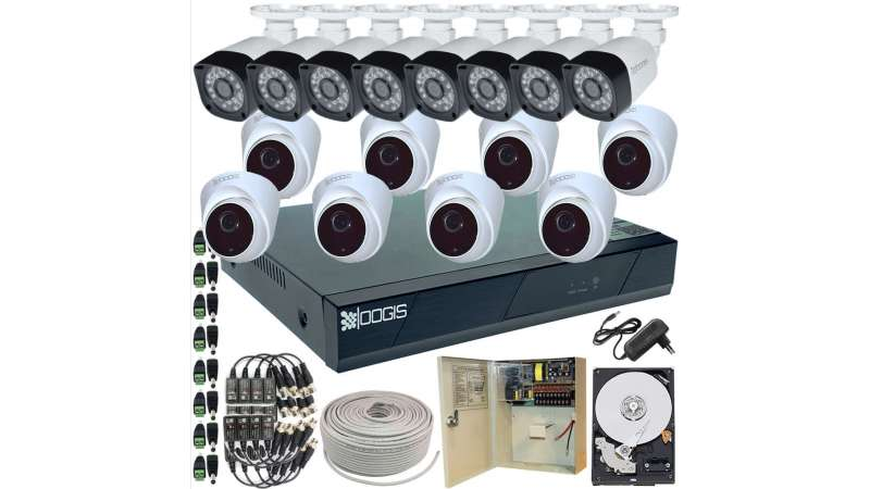 16 Camere 2MP 1080P IR 20m kit COMPLET supraveghere mixt 1080N, acces mobil, noapte/zi (1x Inregistrator ESR-6516N; 8x Camere Exterior BEN-MHD2; 8x Camere Interior HIP-MHD2-11; 1x HDD500GB-R Stocare CADOU si accesoriile incluse)