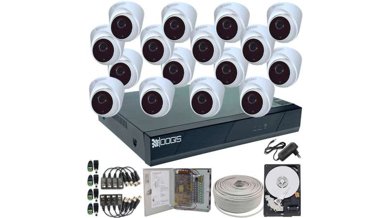 16 Camere 2MP 1080P IR 20m ARRAY kit COMPLET supraveghere Interior 1080N, acces mobil, noapte/zi (1x Inregistrator ESR-6516N; 16x Camere Interior HIP-MHD2-11; 1x HDD500GB-R Stocare CADOU si accesoriile incluse)