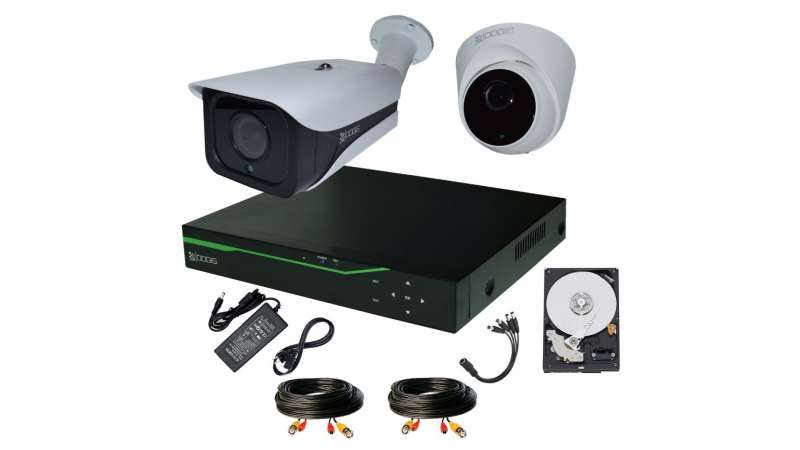 Sistem Supraveghere video COMPLET mixt 2 Camere HD 1920P 5MP cu vedere noaptea IR ARRAY 30M ext si 20m int extensibil 4 1920N (1x Inregistrator ESR-6504N; 1x Camere Exterior RST-MHD54-9L; 1x Camere Interior HIP-MHD54; 1x HDD320GB-R Stocare CADOU si acceso
