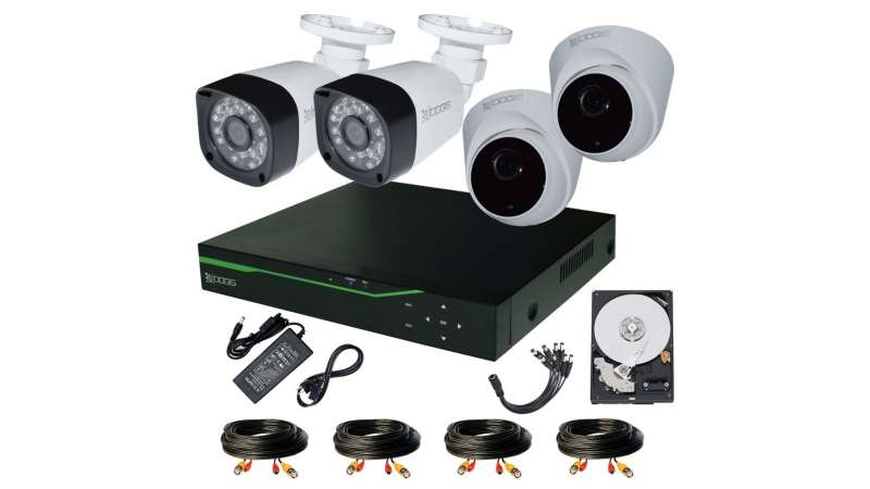 4 Camere 2MP 1080P IR 20m kit COMPLET supraveghere mixt 1080P, acces mobil, noapte/zi (1x Inregistrator MHR-A6504; 2x Camere Exterior BEN-MHD2; 2x Camere Interior HIP-MHD2; 1x HDD320GB-R Stocare CADOU si accesoriile incluse)