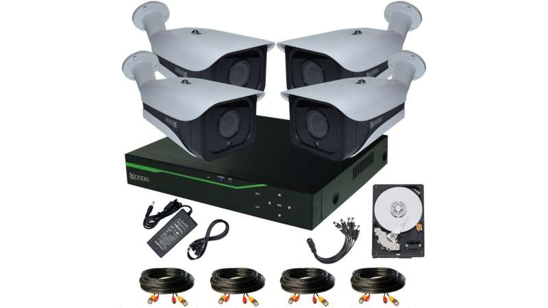 Sistem Supraveghere video COMPLET Exterior 4 Camere HD 1920P 5MP cu vedere noaptea IR ARRAY 30M extensibil 8 1920N (1x Inregistrator ESR-6508N; 4x Camere Exterior RST-MHD54-9L; 1x HDD320GB-R Stocare CADOU si accesoriile incluse)