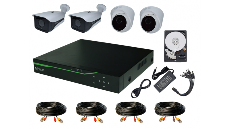 Sistem Supraveghere video COMPLET mixt 4 Camere HD 1920P 5MP cu vedere noaptea IR ARRAY 30M ext si 20m int (1x Inregistrator ESR-6504N; 2x Camere Exterior RST-MHD54-9L; 2x Camere Interior HIP-MHD54; 1x HDD320GB-R Stocare CADOU si accesoriile incluse)