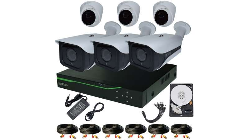 Sistem Supraveghere video COMPLET mixt 6 Camere HD 1920P 5MP cu vedere noaptea IR ARRAY 30M ext si 20m int extensibil 8 1920N (1x Inregistrator ESR-6508N; 3x Camere Exterior RST-MHD54-9L; 3x Camere Interior HIP-MHD54; 1x HDD320GB-R Stocare CADOU si acceso
