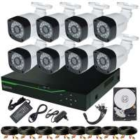 Sistem Supraveghere video COMPLET Exterior 8 Camere HD 1080P 2MP cu vedere noaptea IR 20M (1x Inregistrator MHR-A6208; 8x Camere Exterior BEN-MHD2; 1x HDD500GB-R Stocare CADOU si accesoriile incluse)