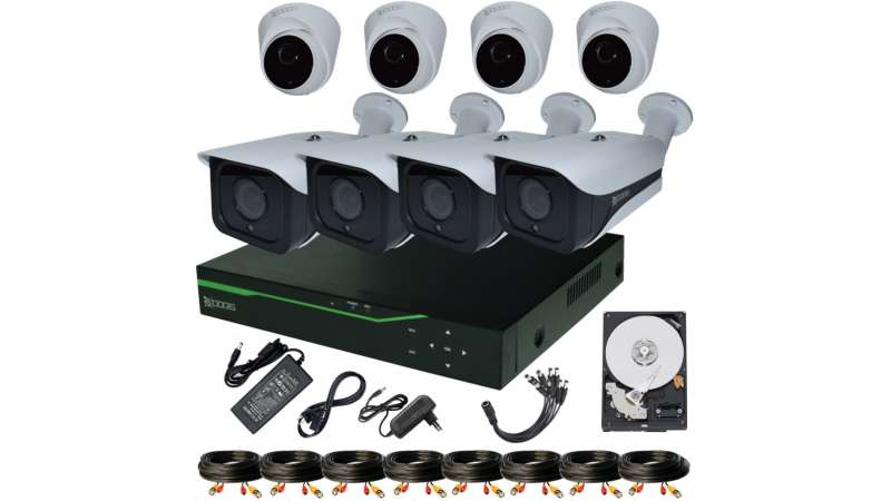 8 Camere 5MP 1920P IR 35m ARRAY kit COMPLET supraveghere mixt 1920N, acces mobil, noapte/zi (1x Inregistrator ESR-6508N; 4x Camere Exterior RST-MHD54-9L; 4x Camere Interior HIP-MHD54; 1x HDD320GB-R Stocare CADOU si accesoriile incluse)