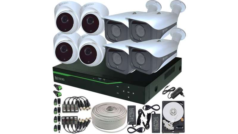 8 Camere 5MP 1920P IR 35m ARRAY kit COMPLET supraveghere mixt 1920N extensibil la 16, acces mobil, noapte/zi (1x Inregistrator ESR-6516N; 4x Camere Exterior RST-MHD54-9L; 4x Camere Interior HIP-MHD54; 1x HDD320GB-R Stocare CADOU si accesoriile incluse)