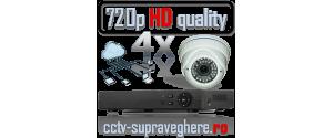 Sistem supraveghere video AHD 720P 1 megapixel cu 4 camere varifocale cu IR Antivandal