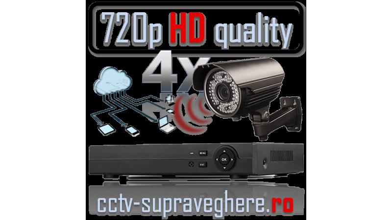 Sistem supraveghere video AHD 720P 1 megapixel cu 4 camere varifocale cu IR Exterior