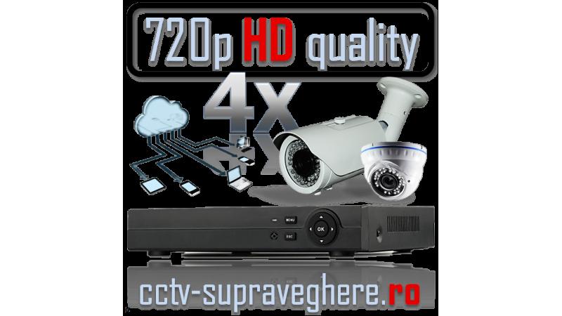 Sistem supraveghere video AHD 720P 1 megapixel cu 4 camere varifocale cu IR mixt