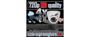 Sistem supraveghere video AHD 720P 1 megapixel cu 4 camere cu IR Antivandal