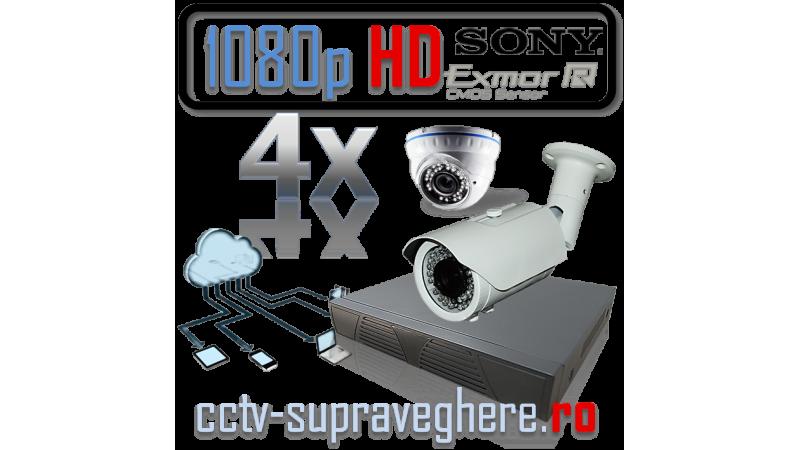 Sistem supraveghere video AHD 1080P 2 megapixeli cu 4 camere varifocale cu senzor Sony