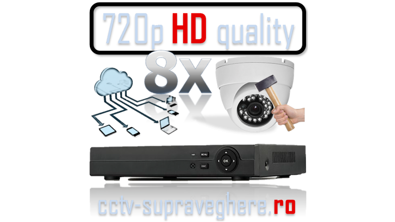 Sistem supraveghere video AHD 1 megapixel cu 8 camere cu IR antivandal