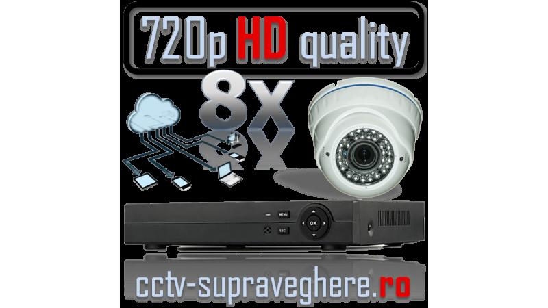 Sistem supraveghere video AHD 720P 1 megapixel cu 8 camere varifocale cu IR Antivandal