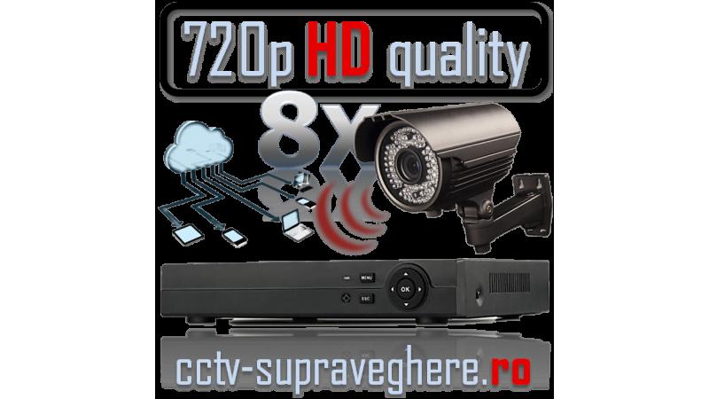 Sistem supraveghere video AHD 720P 1 megapixel cu 8 camere varifocale cu IR Exterior