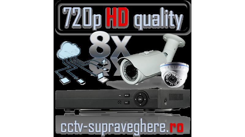 Sistem supraveghere video AHD 720P 1 megapixel cu 8 camere varifocale cu IR mixt
