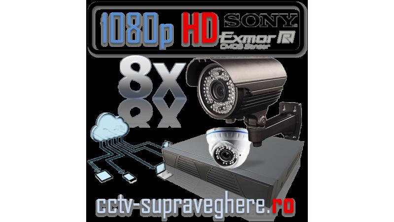 Sistem supraveghere video AHD 1080P 2 megapixeli cu 8 camere varifocale cu senzor Sony
