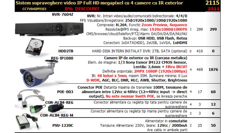 Sistem supraveghere video IP FullHD megapixel cu 4 camere cu IR exterior