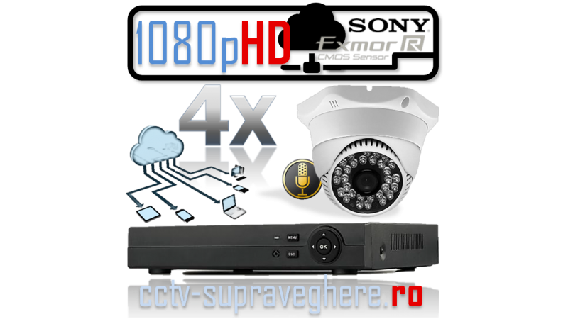 Sistem supraveghere video si audio IP HD megapixel cu 4 camere cu IR interior