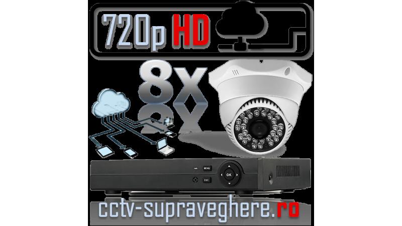 Sistem supraveghere video IP HD megapixel cu 8 camere cu infrarosu interior