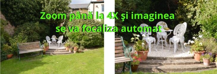 Zoom optic 4X cu focalizare automată a imaginii