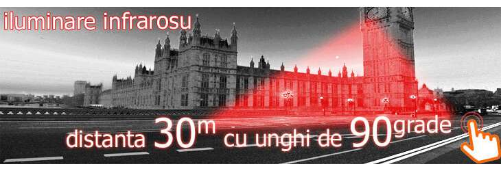 Iluminare infrarosu noaptea 30 m cu unghi larg 90 grade