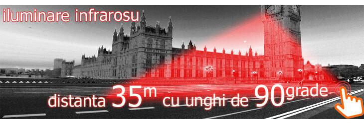Iluminare infrarosu noaptea pana la 35 m, unghi larg 90 grade