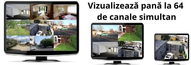 Vizualizează pana la 64 de canale simultan